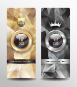 VIP cards with polygonal abstract background — Stock Vector