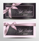 Gift certificate with floral design background and pink ribbons — Stock Vector