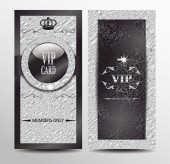 Silver VIP elegant cards with foil textured background — Stock Vector