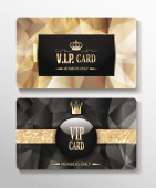 VIP textured cards with polygonal design elements — Stock Vector