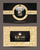 Set of VIP elegant cards with  goldfoil textured background — Stock Vector