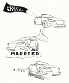 Set of hand drawn cars for wedding — Stock Vector