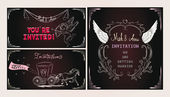 Set of wedding invivations with vintage design elements — Stock Vector