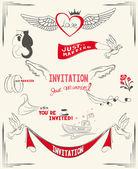 Wedding design vintage hand drawn elements — Stock Vector