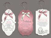 Wedding invitation card with vintage design elements and pink ribbons — Stock Vector