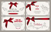 Wedding invitation card with vintage design elements and red ribbons — Stockvektor