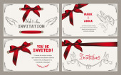 Wedding invitation card with vintage design elements and red ribbons — Stock Vector