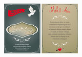Wedding invitation card with vintage design elements — Stock Vector