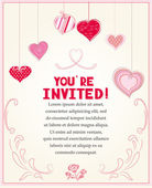Wedding invitation card with vintage design elements and hearts — Stock Vector