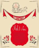 Wedding invitation card with vintage design elements — Stockvektor