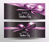 Holiday  valentine's card with pink ribbons — Stockvector