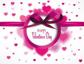 Pink valentine's background with silk bows and hearts — Stock Vector