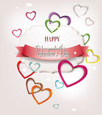 Holiday composition with pink and red hearts — Stock Vector