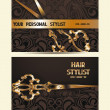 Hair stylist personal cards with scissors and floral design — Stock Vector #65492037