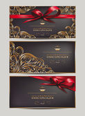 Elegant invitation cards with floral design elements and ribbons — Stock Vector