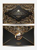 Elegant gold vip invitation envelope — Stock Vector