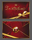Elegant red vip invitation envelope with floral design — Stock Vector