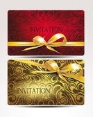 Elegant invitation cards with gold ribbons — Stock Vector