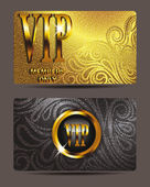 VIP gold cards with floral design elements and textured background — Stock Vector