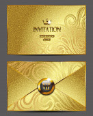 Gold vip invitation envelope — Stock Vector