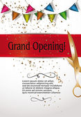 Grand opening invitation cards with decorations and red ribbon — Stock Vector