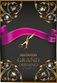 Grand opening invitation gold card with scissors ribbon ans floral design elements — Stock Vector