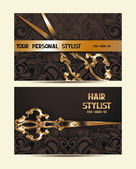 Hair stylist personal cards with scissors and floral design — Stock Vector