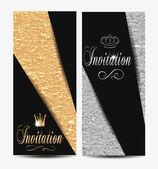 Invitation elegant textured cards — Stock Vector