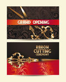 Ribbon cutting ceremony banners with scissors,red ribbon and floral design elements — Stock Vector