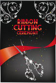 Ribbon cutting ceremony card with scissors,red ribbon and floral design elements — Stock Vector