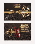 Ribbon cutting ceremony cards with gold scissors — Stock Vector