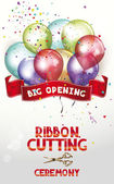 Ribbon cutting ceremony invitation card with air balloons and scissors — Stock Vector