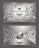 Silver vip invitation envelope with floral design — Stock Vector