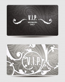Silver VIP cards with floral design elements — Stock Vector