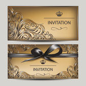 Vintage invitation cards with floral design elements and ribbon — Stock Vector