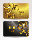Gold VIP textured cards with floral design — Stock Vector