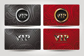VIP red and black cards with floral design — Stock Vector