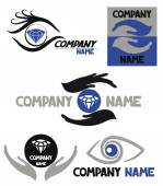 Logo set with eyes or hands — Stock Vector