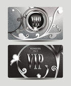 VIP textured silver cards with floral design — Stock Vector