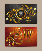 VIP elegant cards with gold floral design — Stock Vector
