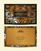 Invitation gold card with floral design — Stock Vector