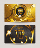 Elegant gold VIP cards with floral design elements — Stock Vector