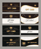 Big set of elegant gift cards with gold design elements — Stock Vector
