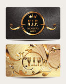 Gold VIP cards with floral design elements — Stock Vector