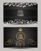 Elegant gold and silver VIP cards with floral design elements — Stock Vector