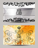 Elegant silver and gold VIP cards with floral design elements — Stock Vector