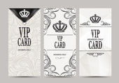 Elegant VIP black and white cards with floral design elements — Stock Vector