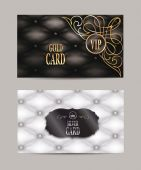VIP gold and silver vintage cards with leather texture — Stock Vector