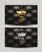 VIP cards with leather texture — Stock Vector