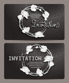 VIP textured black and white invitation cards with floral design — Stock Vector
